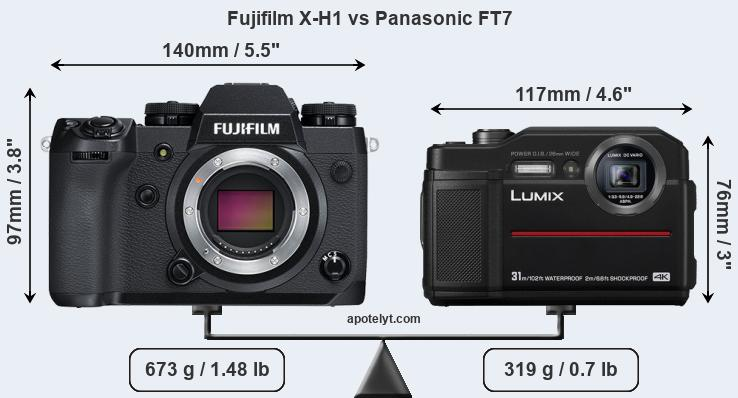 Size Fujifilm X-H1 vs Panasonic FT7