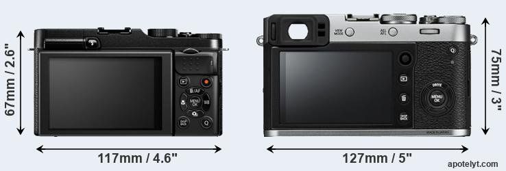 X-M1 and X100F rear side