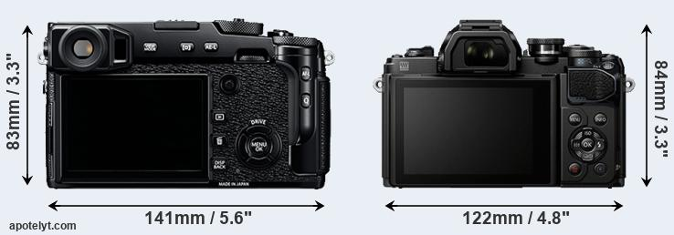 X-Pro2 and E-M10 III rear side