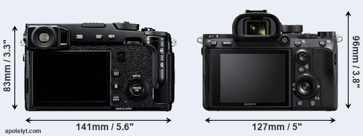 X-Pro2 and A7R III rear side