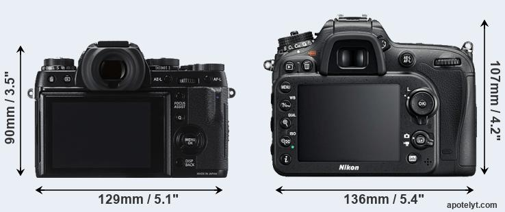 X-T1 and D7200 rear side