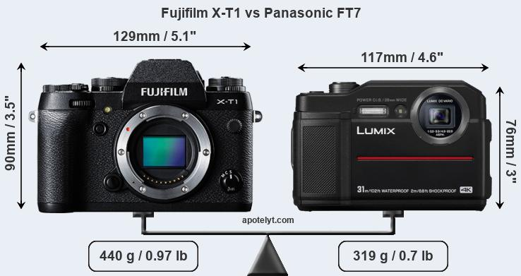 Size Fujifilm X-T1 vs Panasonic FT7
