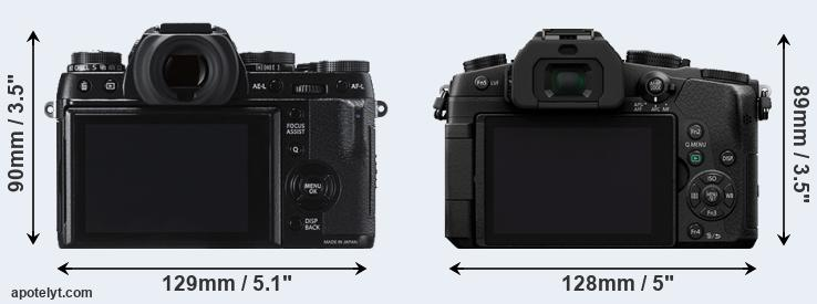 X-T1 and G85 rear side