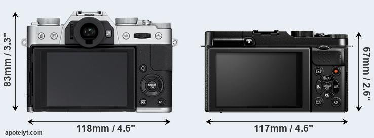 X-T10 and X-M1 rear side