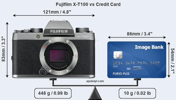 Fujifilm X-T100 vs credit card front