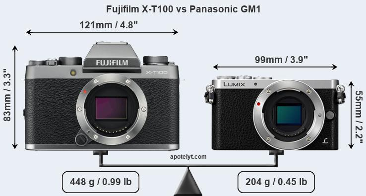 Size Fujifilm X-T100 vs Panasonic GM1