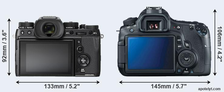 X-T2 and 60D rear side