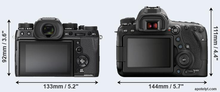 X-T2 and 6D Mark II rear side