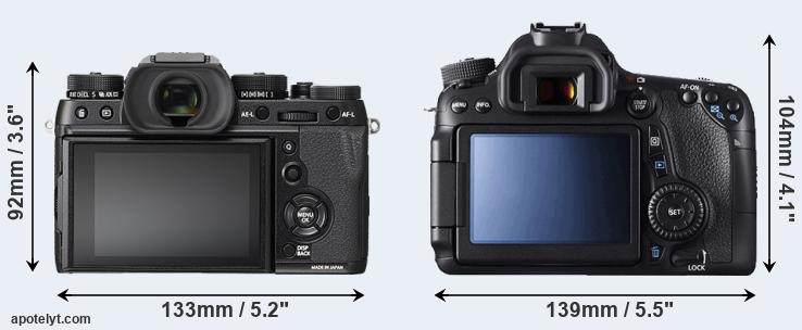 X-T2 and 70D rear side
