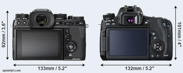 X-T2 and 760D rear side