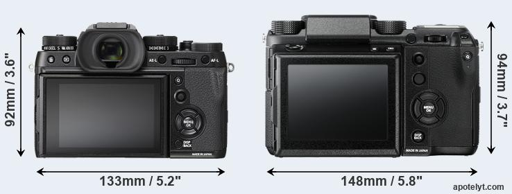 X-T2 and GFX rear side