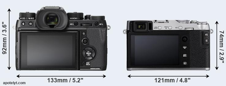 X-T2 and X-E3 rear side