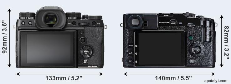 X-T2 and X-Pro1 rear side