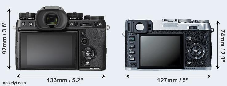 X-T2 and X100S rear side