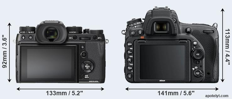 X-T2 and D750 rear side