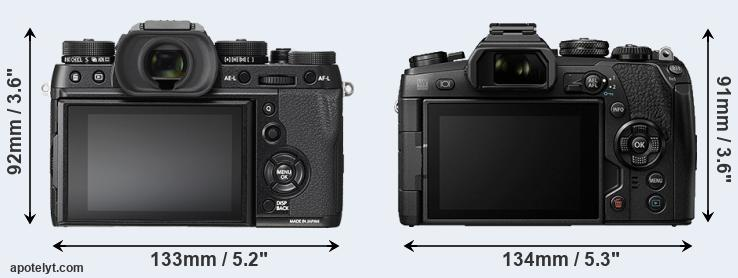 X-T2 and E-M1 II rear side