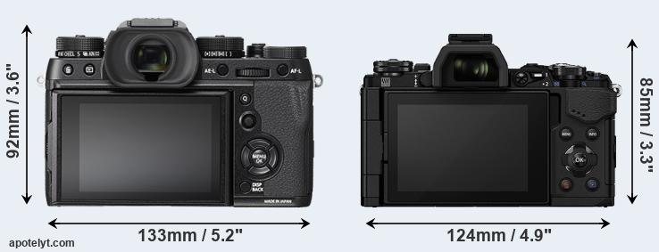 X-T2 and E-M5 II rear side