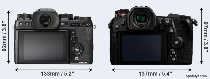 X-T2 and G9 rear side
