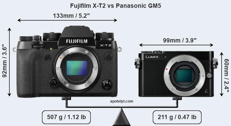 Size Fujifilm X-T2 vs Panasonic GM5