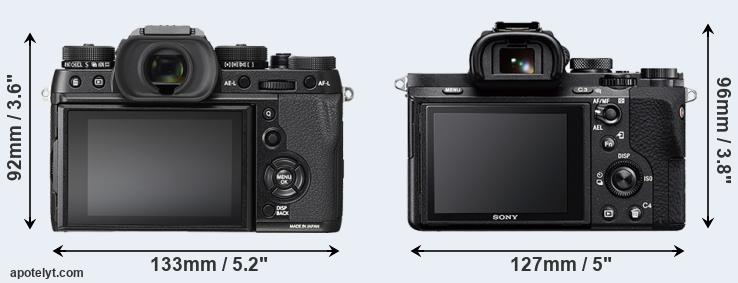 X-T2 and A7 II rear side