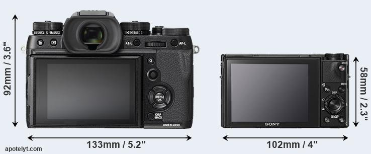 X-T2 and RX100 V rear side