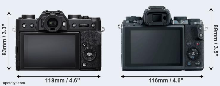 X-T20 and M5 rear side