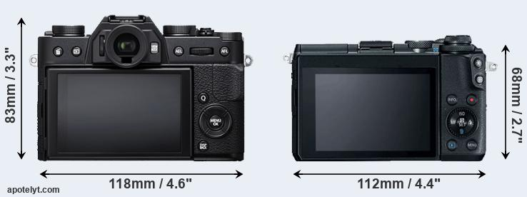 X-T20 and M6 rear side