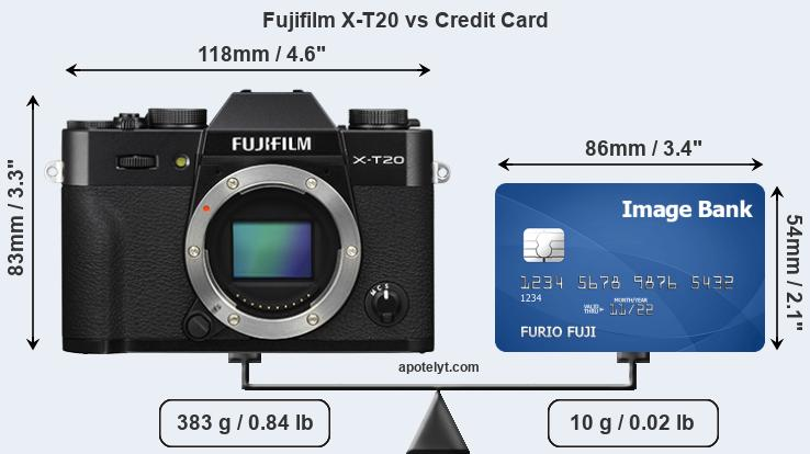 Fujifilm X-T20 vs credit card front
