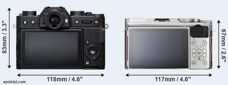 X-T20 and X-A3 rear side