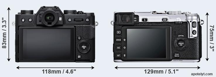 X-T20 and X-E1 rear side