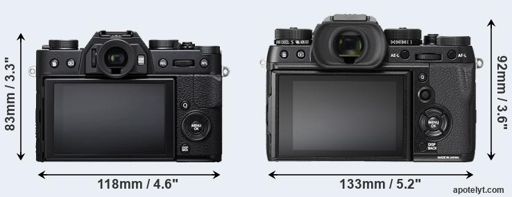 X-T20 and X-T2 rear side