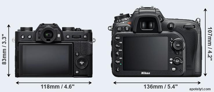 X-T20 and D7200 rear side