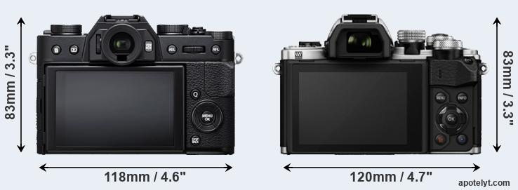 X-T20 and E-M10 II rear side