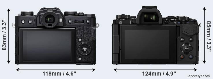 X-T20 and E-M5 II rear side