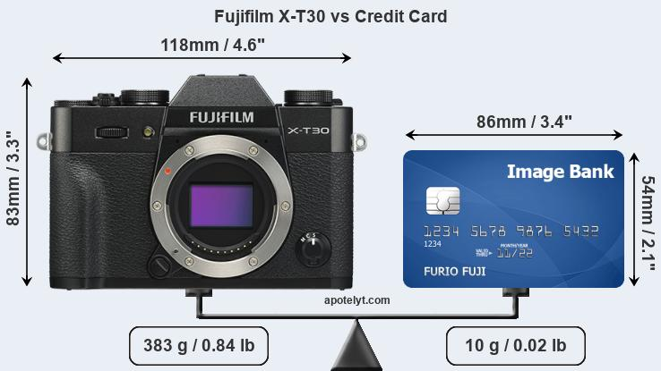Fujifilm X-T30 vs credit card front