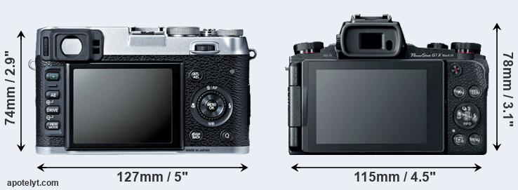 X100S and G1X Mark III rear side