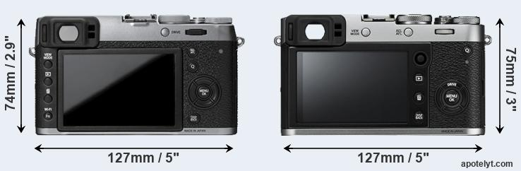 X100T and X100F rear side