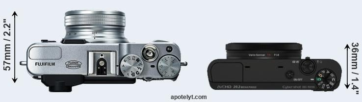 X20 versus RX100 top view