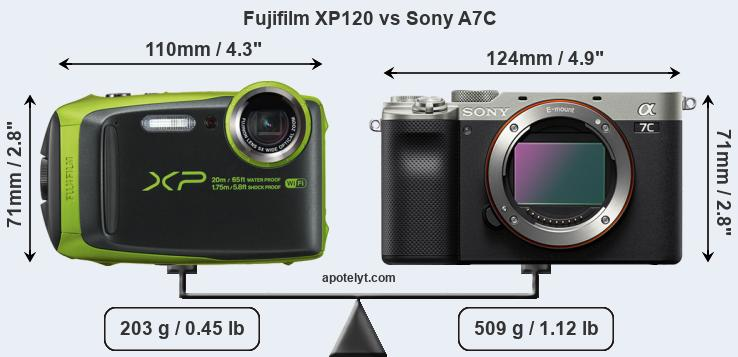 Size Fujifilm XP120 vs Sony A7C