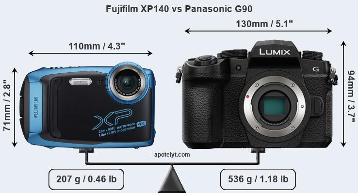 Size Fujifilm XP140 vs Panasonic G90