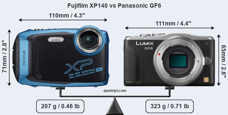 Size Fujifilm XP140 vs Panasonic GF6