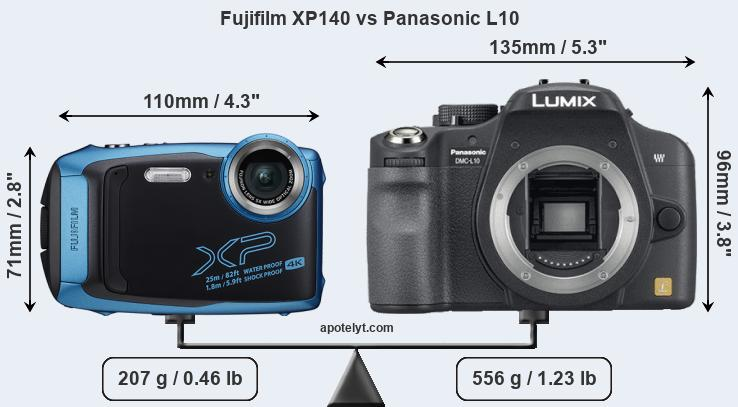 Size Fujifilm XP140 vs Panasonic L10