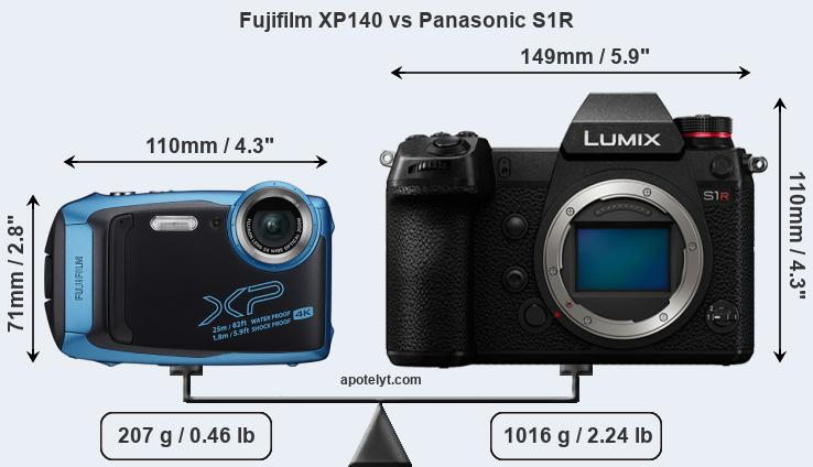 Size Fujifilm XP140 vs Panasonic S1R