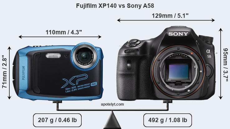 Size Fujifilm XP140 vs Sony A58