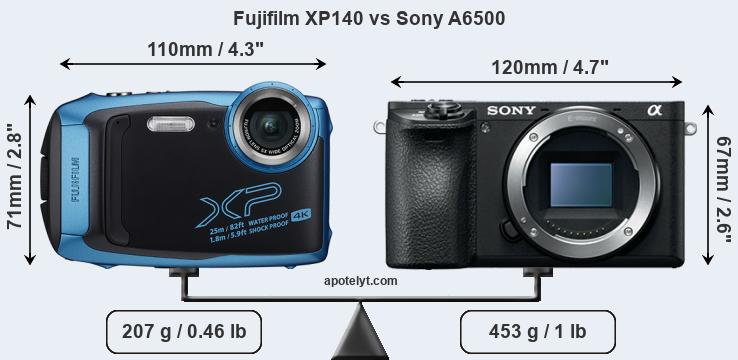 Size Fujifilm XP140 vs Sony A6500