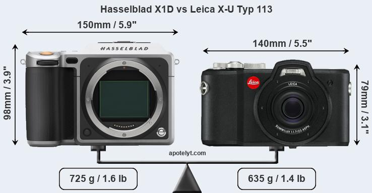 Compare Hasselblad X1D and Leica X-U Typ 113