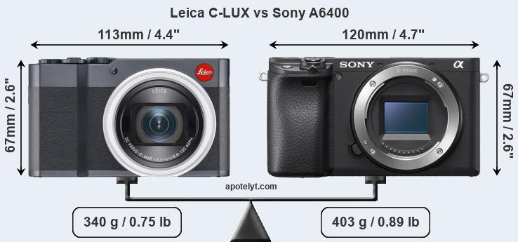 Size Leica C-LUX vs Sony A6400
