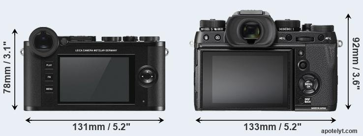 CL and X-T2 rear side