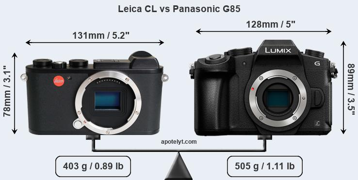 Size Leica CL vs Panasonic G85