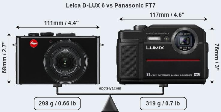Size Leica D-LUX 6 vs Panasonic FT7